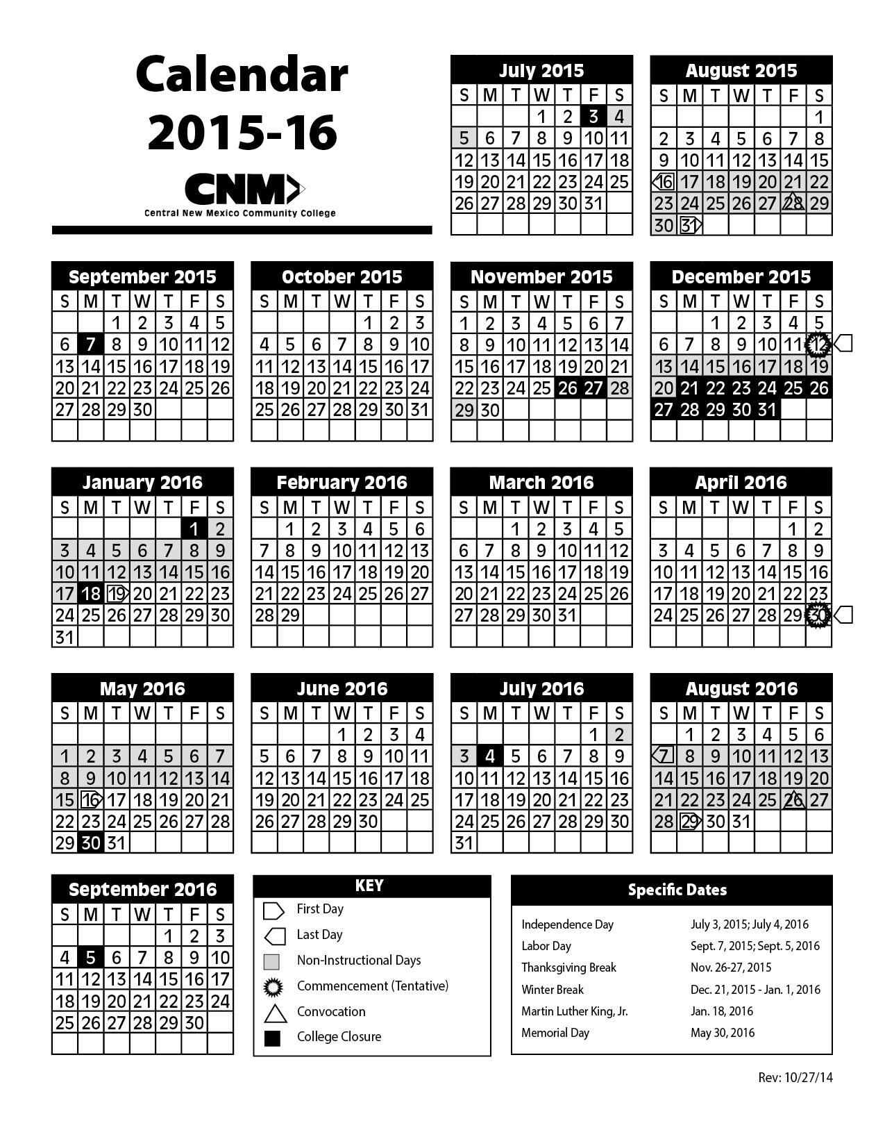 2015 2016 Academic Calendar Image