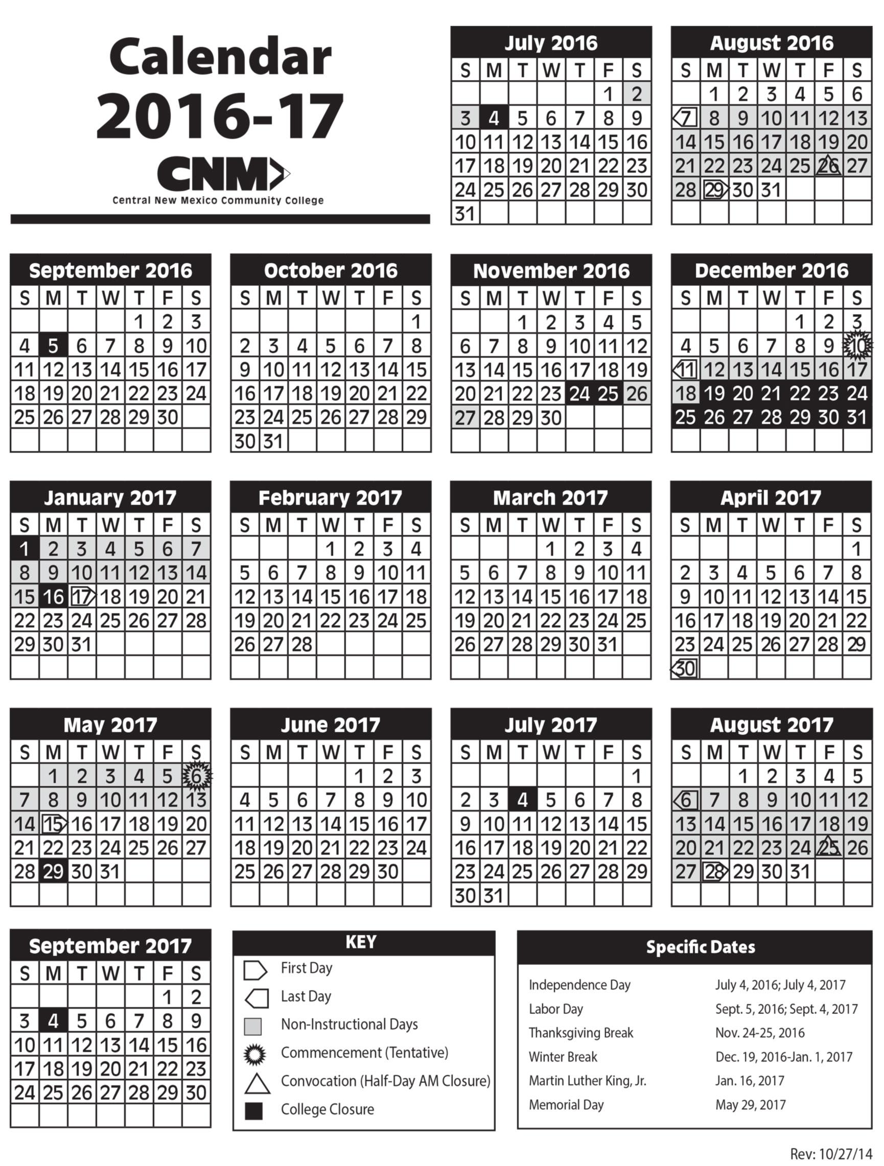 2016-2017 Academic Calendar image