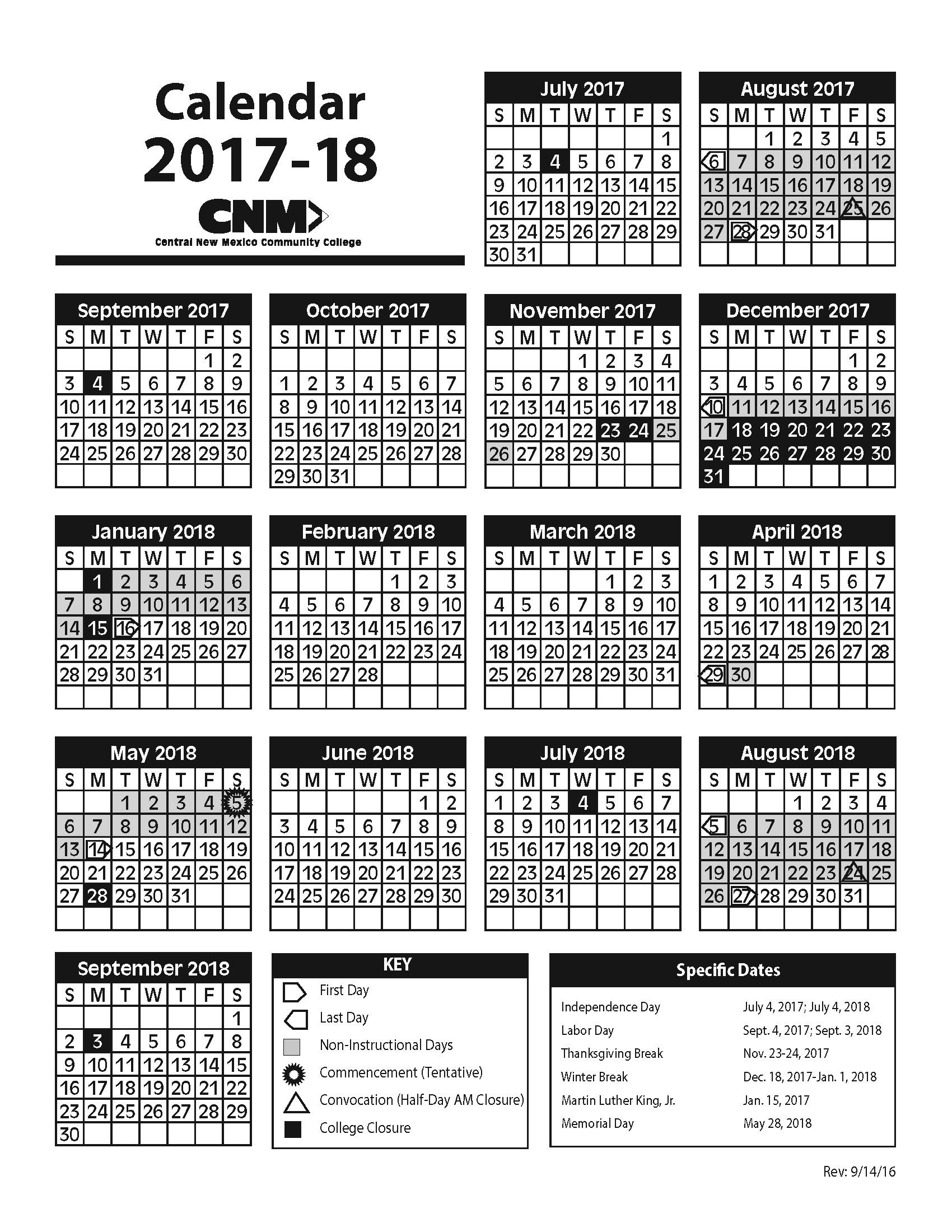 2017-2018 Academic Calendar image