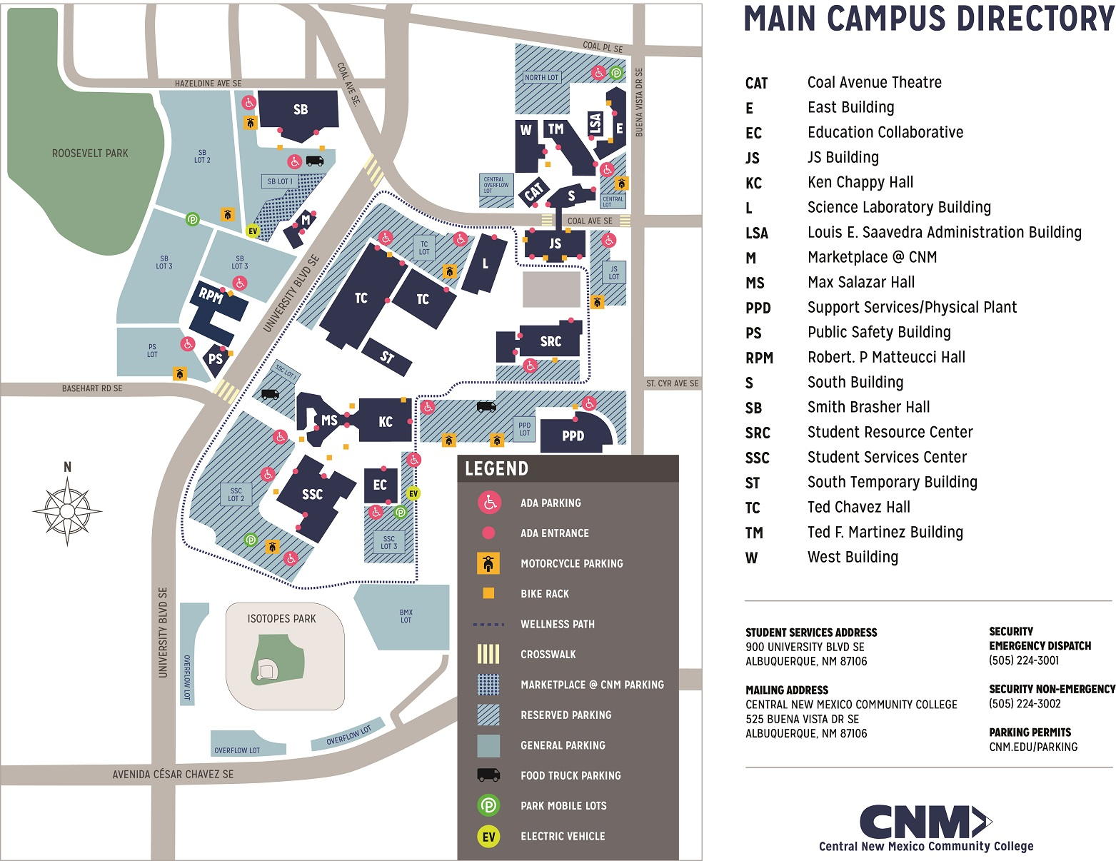 main campus map central new mexico munity college