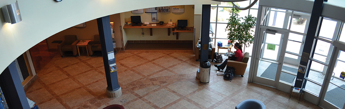 Overhead view of the WORKforce Training Center Lobby.